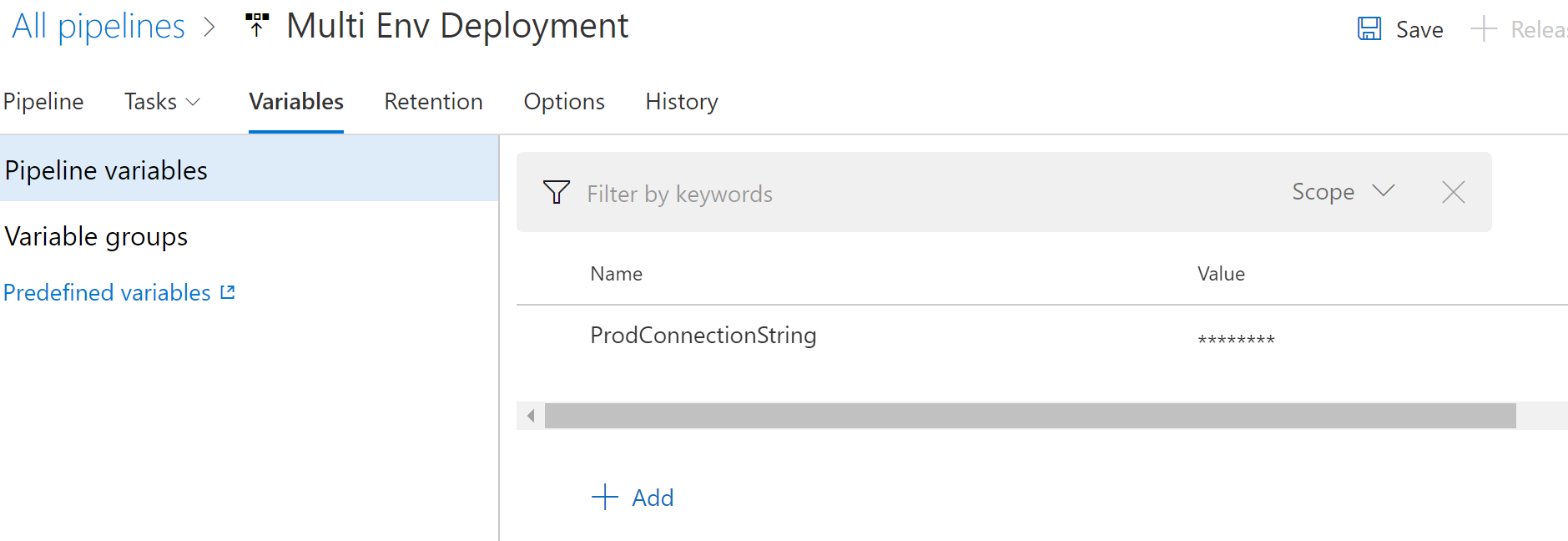 ProdConnectionString variable defined
